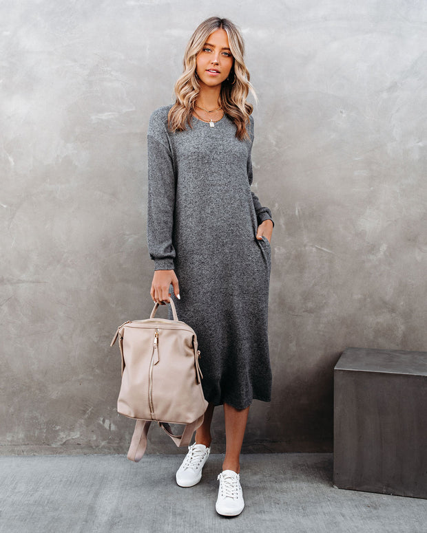 Coley Pocketed Hooded Knit Midi Dress - Charcoal view 1