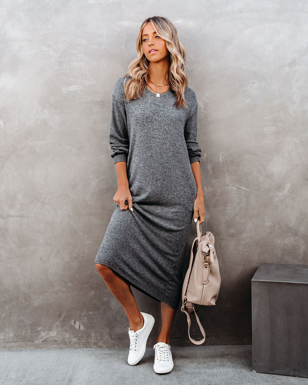 Coley Pocketed Hooded Knit Midi Dress - Charcoal view 5