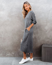 Coley Pocketed Hooded Knit Midi Dress - Charcoal view 7
