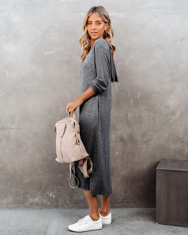 Coley Pocketed Hooded Knit Midi Dress - Charcoal view 8