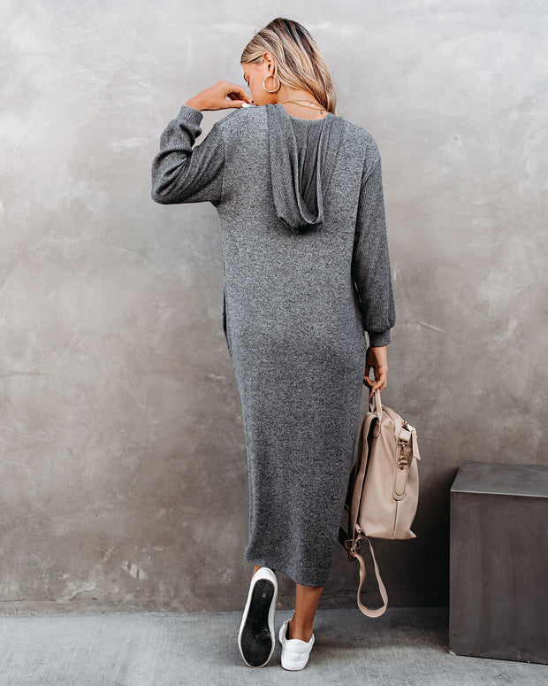 Coley Pocketed Hooded Knit Midi Dress - Charcoal view 2