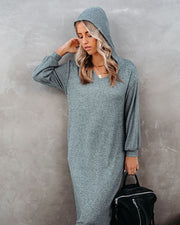 Coley Pocketed Hooded Knit Midi Dress - Dark Teal - FINAL SALE view 6