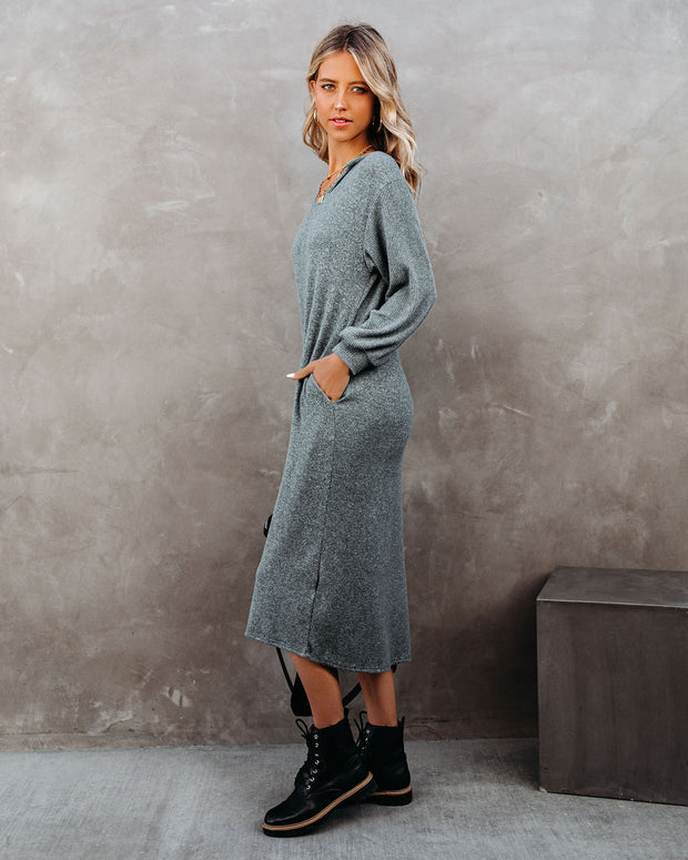 Coley Pocketed Hooded Knit Midi Dress - Dark Teal - FINAL SALE view 10