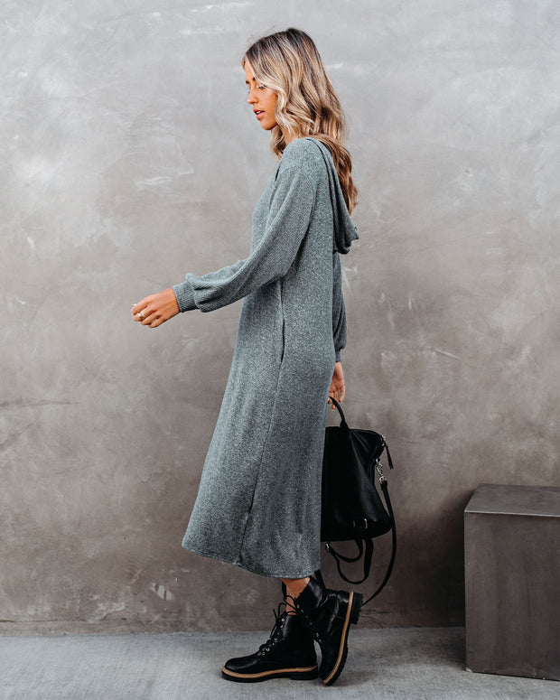 Coley Pocketed Hooded Knit Midi Dress - Dark Teal - FINAL SALE view 9