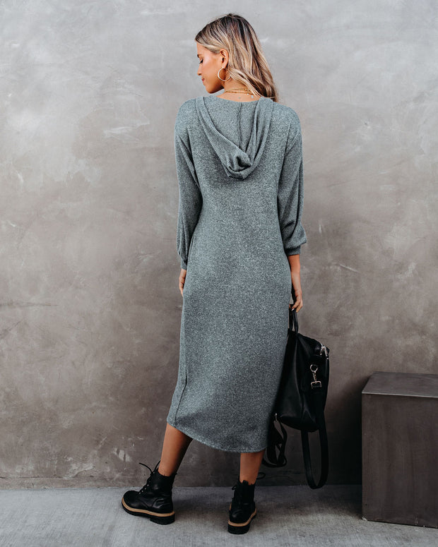 Coley Pocketed Hooded Knit Midi Dress - Dark Teal - FINAL SALE view 2