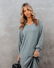 Coley Pocketed Hooded Knit Midi Dress - Dark Teal - FINAL SALE view 8
