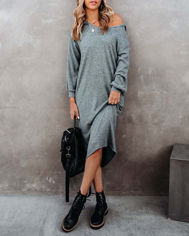 Coley Pocketed Hooded Knit Midi Dress - Dark Teal - FINAL SALE view 7