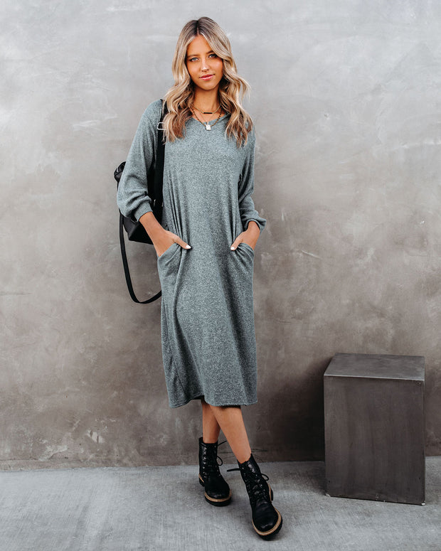 Coley Pocketed Hooded Knit Midi Dress - Dark Teal - FINAL SALE view 3