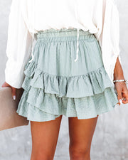 Conny Cotton Blend Ruffle Mini Skort - Slate Green view 10