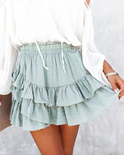 Conny Cotton Blend Ruffle Mini Skort - Slate Green view 5