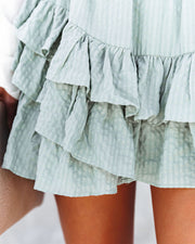 Conny Cotton Blend Ruffle Mini Skort - Slate Green view 4