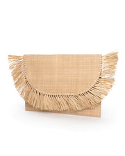 Cozumel Straw Fringe Clutch view 3
