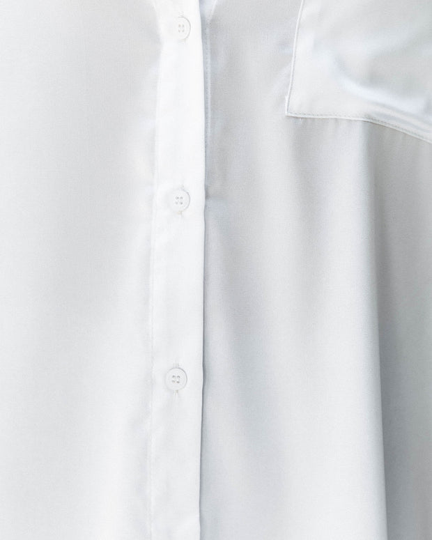 Dazzle Backless Satin Button Down Blouse - Off White view 4
