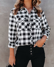 Dessa Gingham Button Down Embellished Top - FINAL SALE view 6
