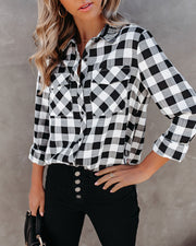 Dessa Gingham Button Down Embellished Top - FINAL SALE view 4