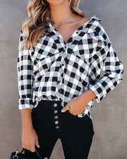 Dessa Gingham Button Down Embellished Top - FINAL SALE view 9