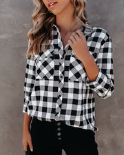 Dessa Gingham Button Down Embellished Top