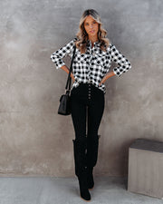 Dessa Gingham Button Down Embellished Top - FINAL SALE view 8