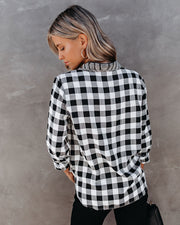 Dessa Gingham Button Down Embellished Top - FINAL SALE view 3