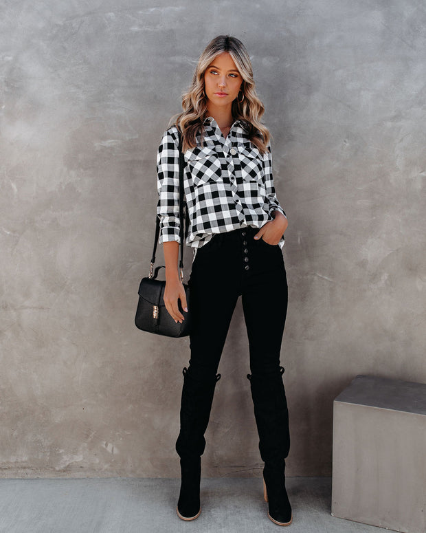 Dessa Gingham Button Down Embellished Top - FINAL SALE view 1