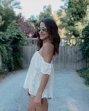 White Moon Eyelet Top