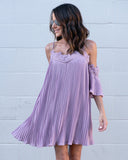 Wildest Dreams Pleated Dress - Dusty Lavender - FINAL SALE