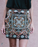 Prismatic Embroidered Mini Skirt