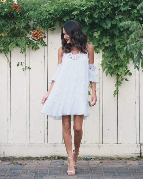 Wildest Dreams Pleated Dress - Off White - FINAL SALE