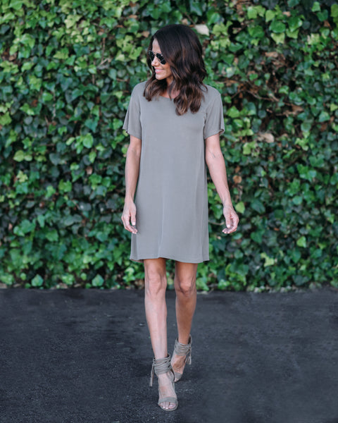 Cruiser Ribbed T-Shirt Dress - Mocha - FINAL SALE