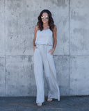 Around Town Pocketed Jumpsuit - Heather Grey
