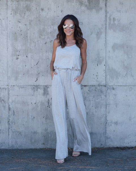 Around Town Pocketed Jumpsuit - Heather Grey - FINAL SALE