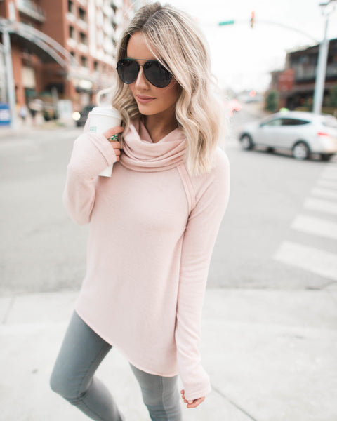 Open Book Cowl Neck Knit Top - Blush
