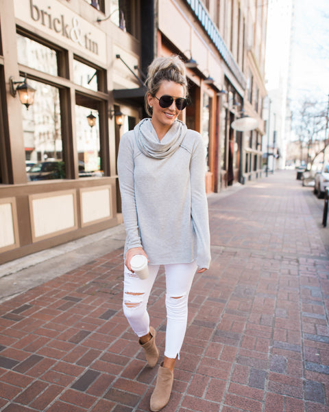 Open Book Cowl Neck Knit Top - Heather Grey