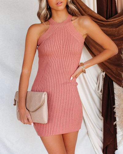 Duo Ribbed Halter Bodycon Dress