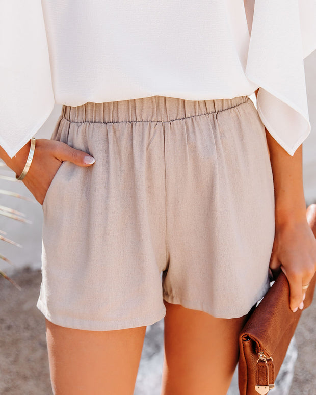 Danni Pocketed Linen Blend Shorts - Taupe view 1