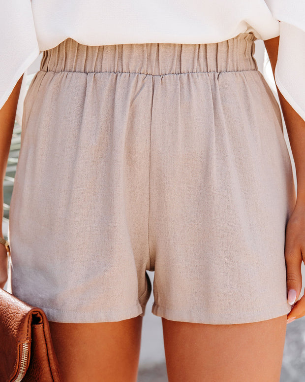 Danni Pocketed Linen Blend Shorts - Taupe view 5