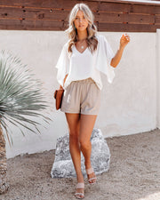 Danni Pocketed Linen Blend Shorts - Taupe view 8