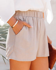 Danni Pocketed Linen Blend Shorts - Taupe view 9