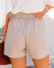 Danni Pocketed Linen Blend Shorts - Taupe view 2