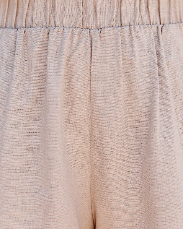 Danni Pocketed Linen Blend Shorts - Taupe view 4