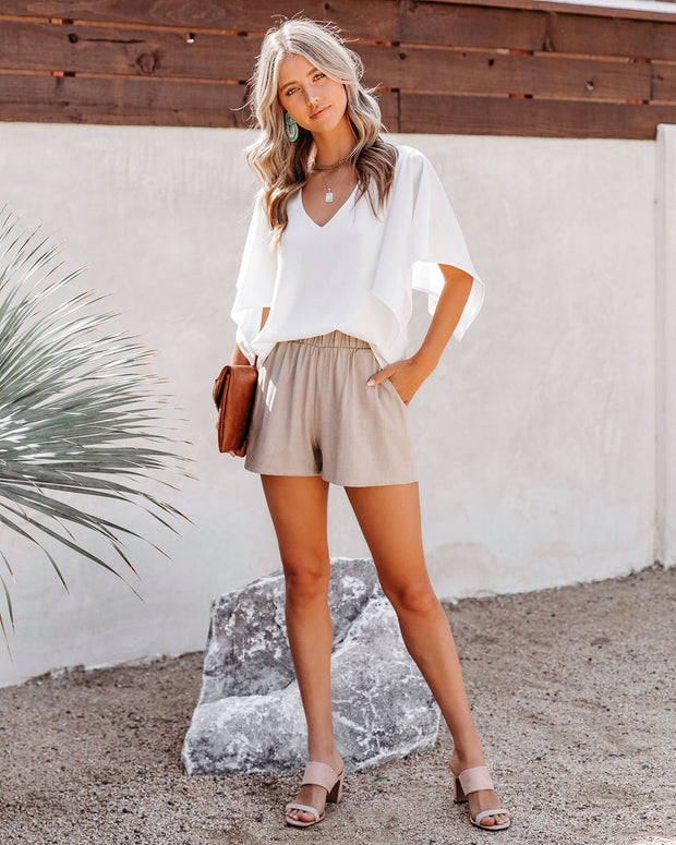 Danni Pocketed Linen Blend Shorts - Taupe view 7