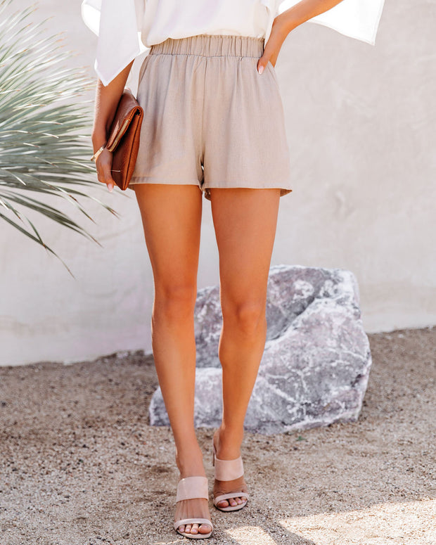 Danni Pocketed Linen Blend Shorts - Taupe view 11