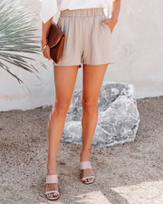 Danni Pocketed Linen Blend Shorts - Taupe view 6