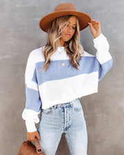 Daylan Striped Crop Knit Sweater - Blue