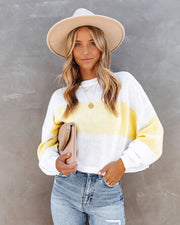 Daylan Striped Crop Knit Sweater - Yellow