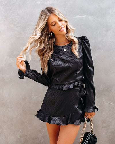 Define Beauty Satin Embossed Crop Blouse - Black