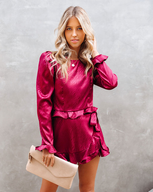 Define Beauty Satin Embossed Crop Blouse - Wine  - FINAL SALE