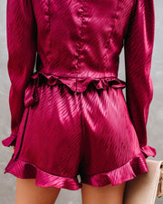 Define Beauty Satin Embossed Wrap Skort - Wine  - FINAL SALE