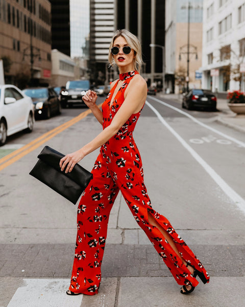 Rendezvous Floral Pocketed Jumpsuit