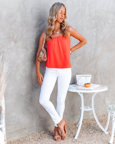 Dixie Strapless Top - Bright Coral